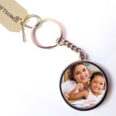 Customized Round Metal Photo Key Chain - 2 Photos printed