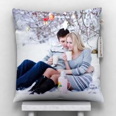 Giftsonn Personalized 1 Photo Satin Pillow/Cushion- White, 12*12