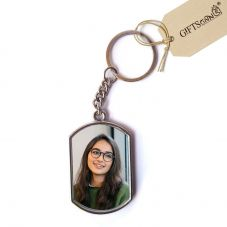 GiftsOnn Metal 2 photos Personalized Keychain (Rectangular)