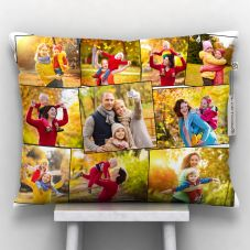 Personalized Satin 9-12 Photos Pillow (White, 12x15-inch)