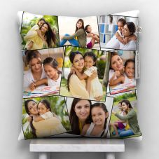 Customized White 9 Photos Satin pillow, 12*12