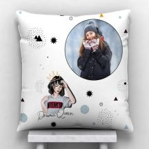 GiftsOnn Drama Queen quote with photo Personalized Satin Cushion - White