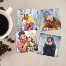 Set of Square Shaped Personalized Wooden Coasters