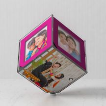 Pink Color Led 6 photos Frame/Cube By GiftsOnn