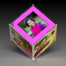 LED Transparent Rotating Photo Frame/Cube With Your 6 Photos