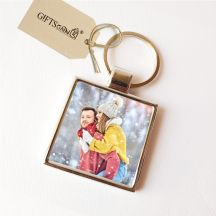GiftsOnn Customized Metal Two Sided Photo Key ring