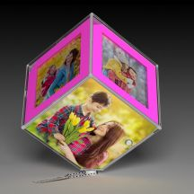 GiftsOnn Personalized Rotating Pink Cube With LED