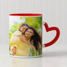 Personalized Mug with Red Heart Handle