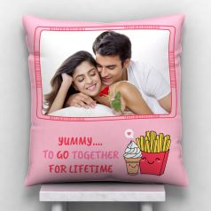 GiftsOnn Go together for lifetime with Personalized Cushion - White