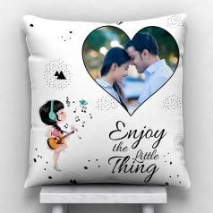 GiftsOnn Enjoy the little thing with Personalized Satin Cushion - White